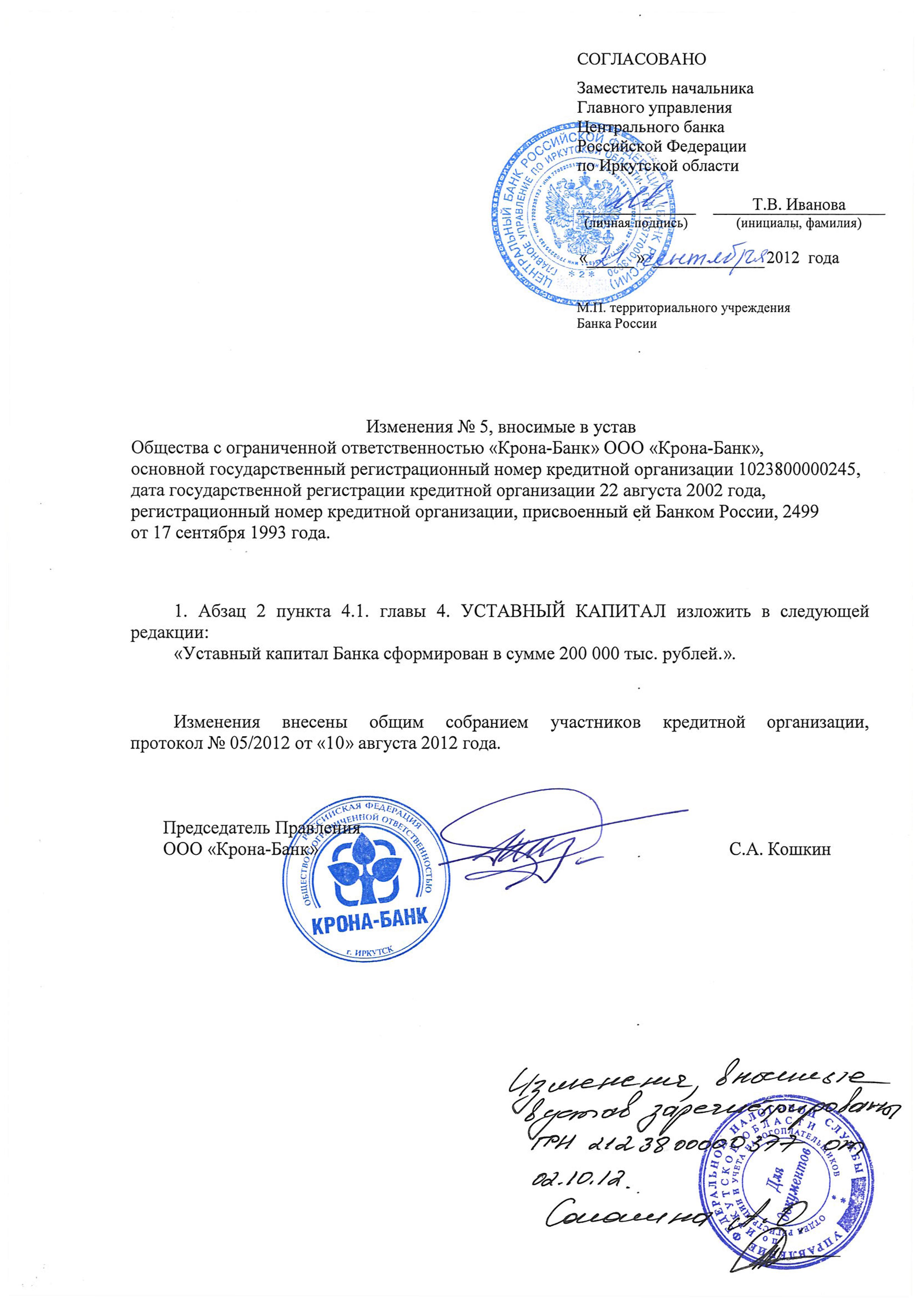 Образец лист внесения изменений в устав ооо